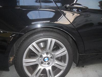 BMW,3シリーズ リヤフェンダー板金塗装、佐藤自動車はいつでも永久保証!