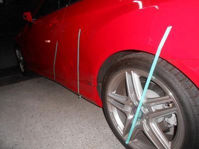メルセデスベンツ・E250 リヤドア、リヤフェンダー板金塗装、事故車にならないように。