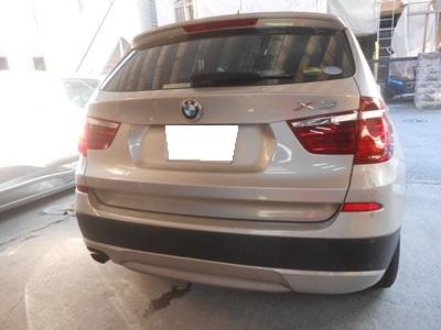 BMW,X3 リヤバンパー凹み修理