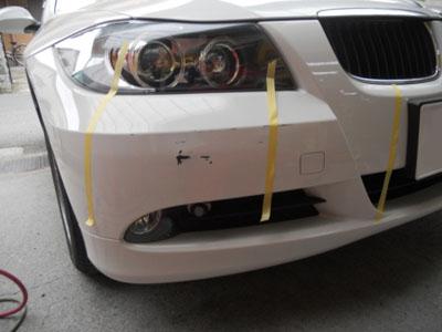 BMW フロントバンパー交換 保険修理なら、キャッシュバック付き!!
