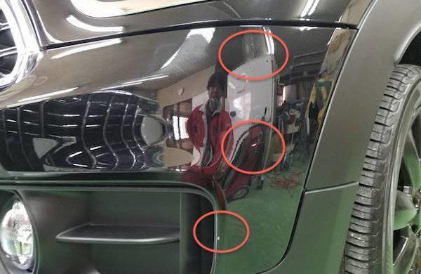 「ミニ」バンパーを脱着せずに傷修理塗装
